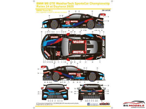 SK24126 BMW M8 GTE  WSC  Rolex 24H Daytona 2018  # 24 Team RLL Waterslide decal Decal