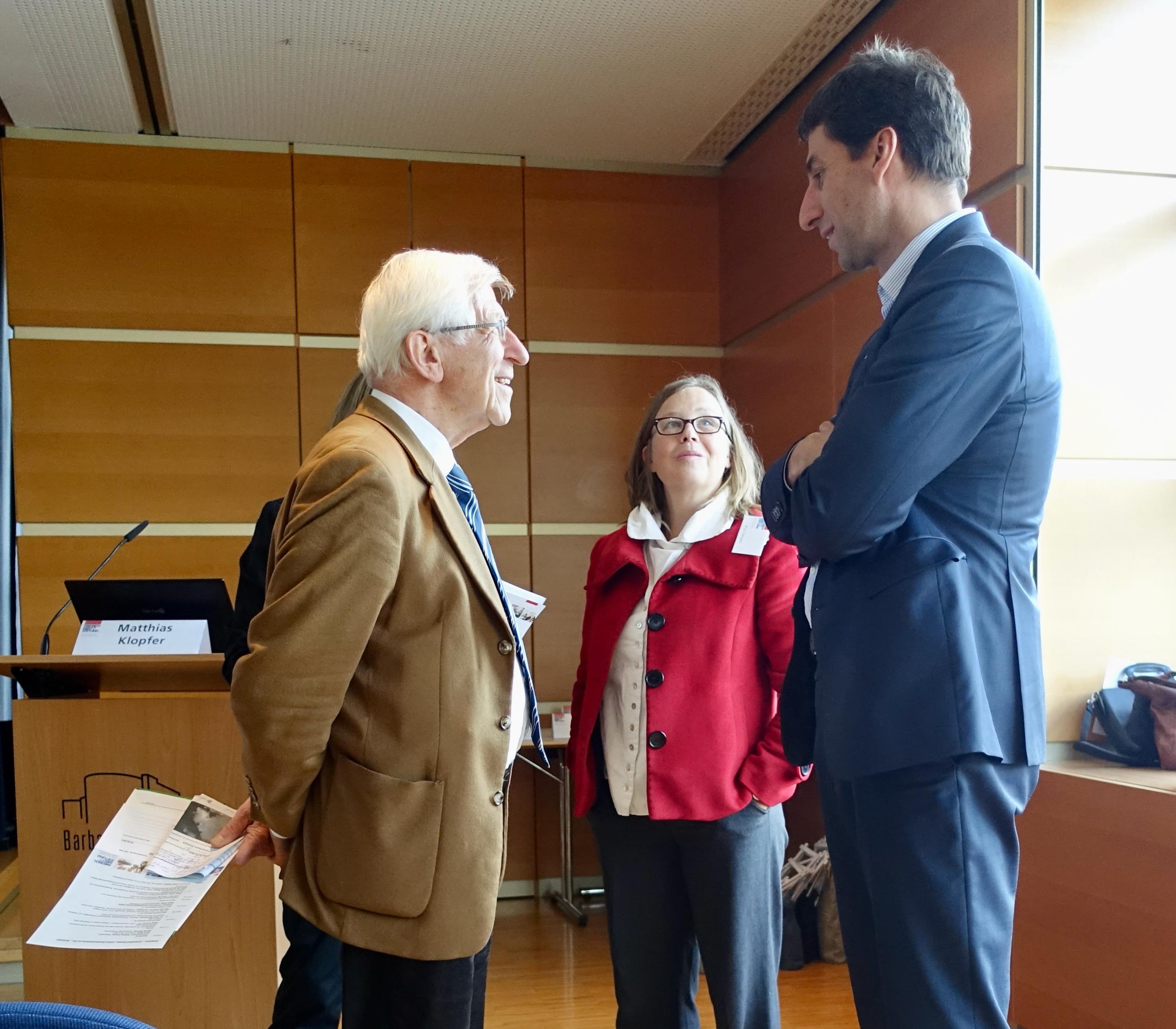 Franz Alt im Gespräch mit Anja Dargatz von der Friedrich-Ebert-Stifung und OB Matthias Klopfer