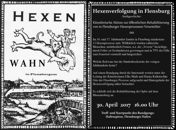 Künstlerische Aktion zu Hexenprozessen in Flensburg