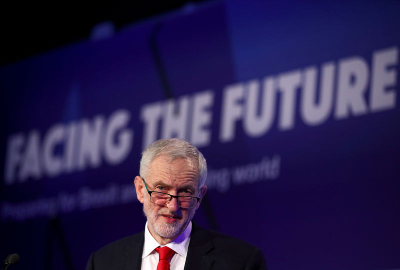© Reuters. FILE PHOTO: Jeremy Corbyn, leader of the Labour Party, gives a speech at the EEF National Manufacturing conference, in London