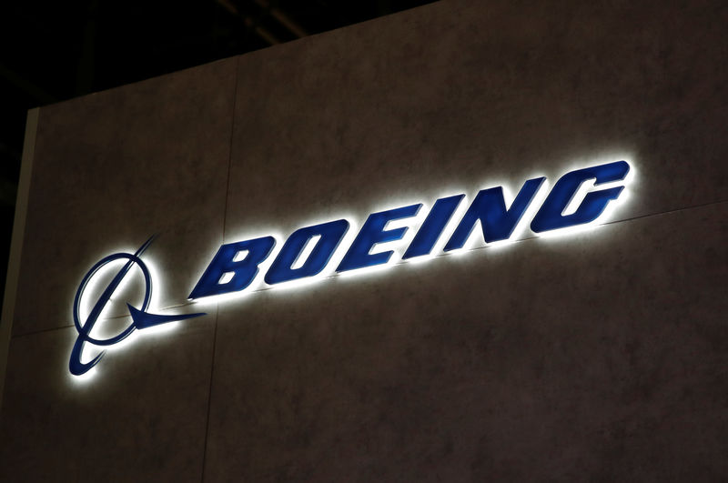© Reuters. A Boeing logo is pictured during EBACE in Geneva