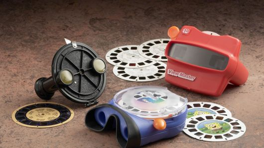 Three generations of a View-Master '3-D Viewer' are seen displayed in this photograph from Fisher-Price. With more than one billion View-Masters sold, Fisher-Price, a subsidiary of Mattel, is celebrating the 65th anniversary of the '3-D Stereoscopic Photography Viewer' this year.
