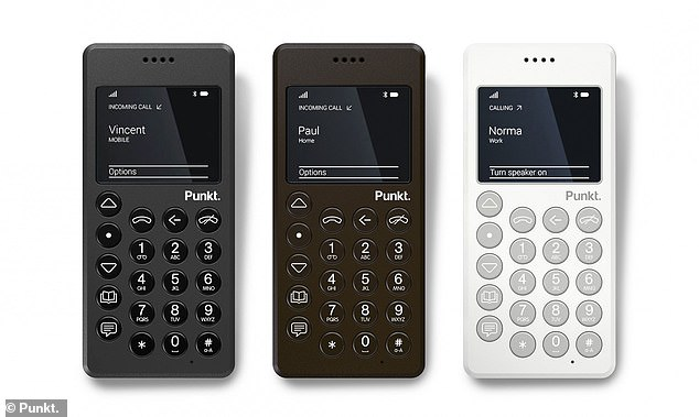 The MP01 from Swedish company Punkt comes in three colours, brown, black and white. The MP02 Mobile Phone, on show at the Mobile World Congress in Barcelona, can perform simple functions like sending texts and making phone calls, much like the  'brick' Nokia phones from the 90s. But it's thinner, lighter and designed to be stylish, says the Swedish company Funkt