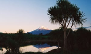 A distant view of Taranaki volcano from the Whanganui river. Both have the legal rights of a person.
