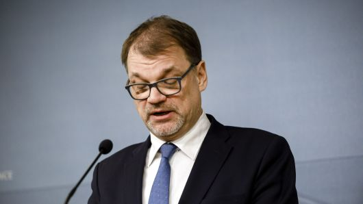 Finnish Prime Minister Juha Sipila announces his government's resignation at a news conference at his official residence, Kesaranta, in Helsinki, Finland March 8, 2019.