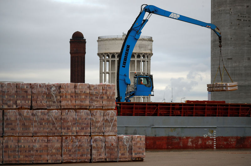 © Reuters. FILE PHOTO: A dock worker uses a crane to unload a ship in Associated British Ports facility in Goole