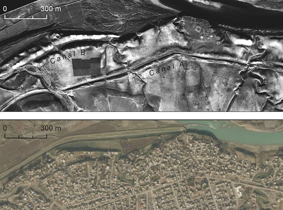 The black and white photographs, released by the CIA, show a range of areas of ancient importance. This image shows the remains of canals (top picture) dating to the Sasanian era in early first millennium AD (Canal A) andthe Assyrian Empire (Canal B) in northern Iraq above the city of Nimrud taken in the 1960s