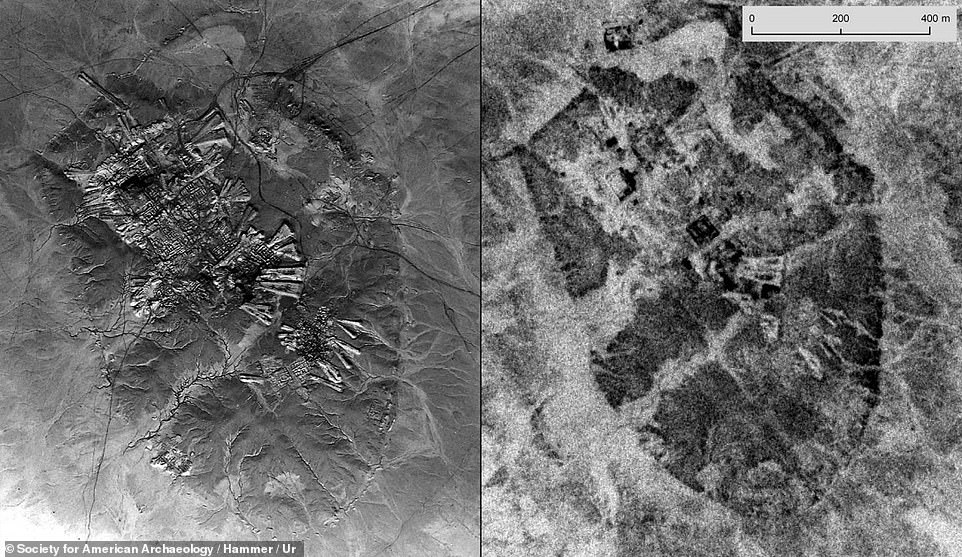 Experts Emily Hammer and Jason Ur built their own index of the U2 imagery and selected film rolls from the National Archives¿ storage centre in the of Kansas. This image shows Ur, an important Sumerian city-state in ancient Mesopotamia, located at the site of modern Tell el-Muqayyar. The left image was taken by U2 in 1959 (left) and a spy satellite in 1968 (right)