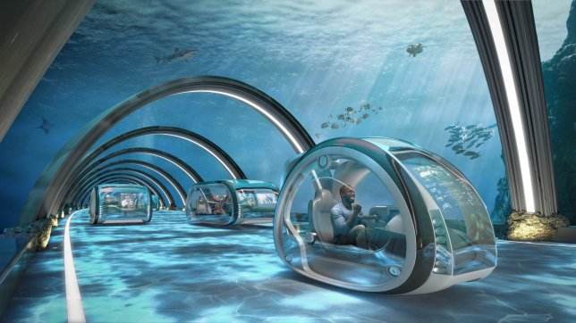 EMBARGOED TO 0001 THURSDAY AUGUST 29 EDITORIAL USE ONLY An undated handout illustration of Aquatic super highways that will enable connections between the UK and mainland Europe in under an hour via subsonic tube transport systems according to predictions by six of Britain???s leading academics as part of the Samsung KX50: The Future In Focus report; an in-depth study commissioned to mark the launch of Samsung KX, a new experience space in Coal Drops Yard, London, celebrating 50 years of tech innovation. PRESS ASSOCIATION Photo. Issue date: Thursday August 29, 2019. The report, which unveils how we might be living in 50 years??? time, is co-authored by President of techUK, Jacqueline de Rojas, Director of Engineering and Education at the Royal Academy of Engineering, Dr Rhys Morgan and food futurologist, Dr Morgaine Gaye and predicts tech developments such as high-street bug burger takeaways, drone-style air taxis and buses, space hotels, aquatic highways, self-cleaning homes and body implants that monitor our health. See PA story TECHNOLOGY Future. Photo credit should read: Samsung/PA Wire