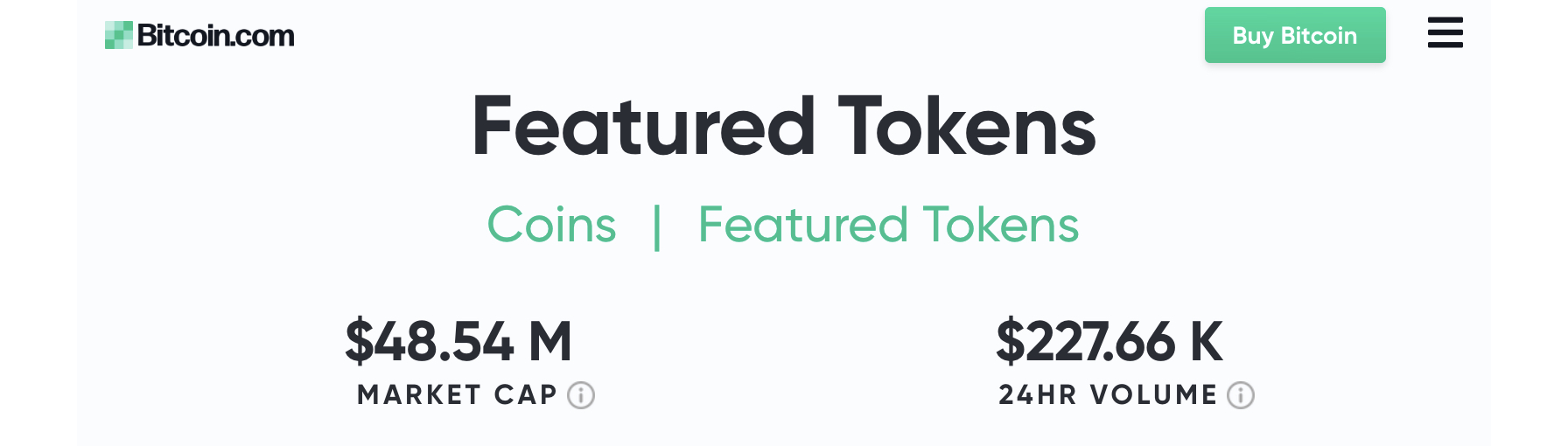 Check Out the New Featured Tokens on Bitcoin.com's Markets Page