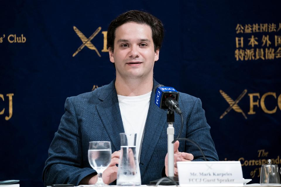 Former Mt. Gox Chief Executive Officer Mark Karpeles speaks during a press conference.