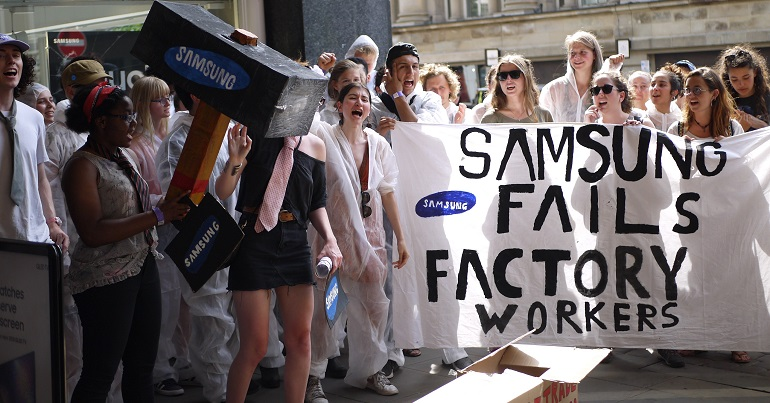 People & Planet campaigners at Samsung action