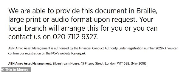 The authoritative looking documents detailed full terms and conditions and even an FCA registration number - though the phone number wasn't ABN's and the registration number linked to the bank's Luxembourg subsidiary, which was sold to BNP Paribas last year