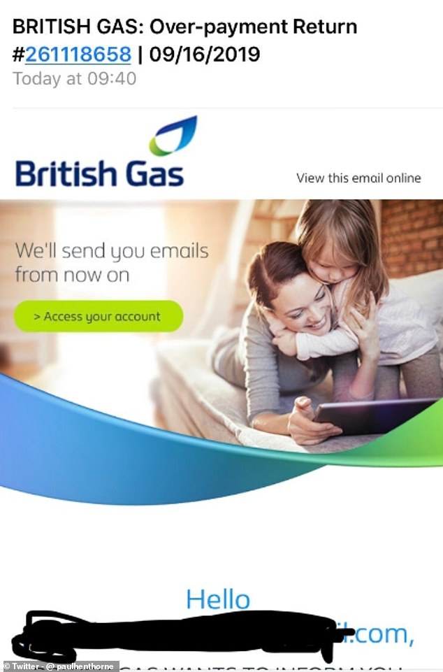 One British Gas customer was sent a phishing email claiming to be from the energy supplier