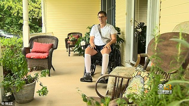 Doctors determined an amoeba had entered Perry's brain after water went up his nose when he fell into the water. Pictured: Perry in his wheelchair at home
