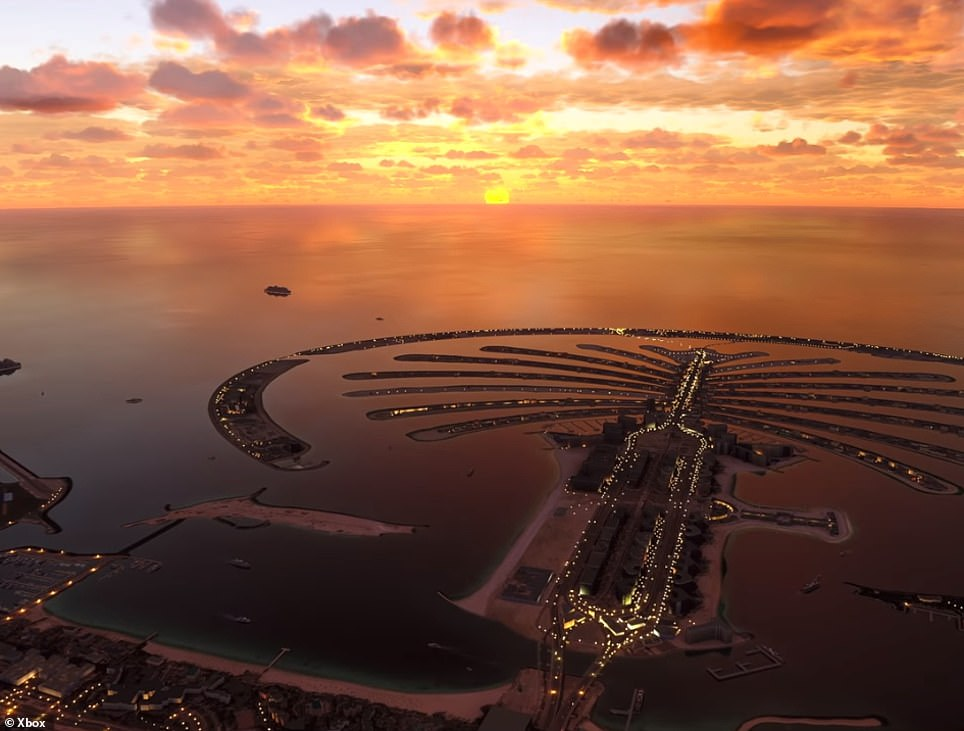 Players will be able to see a breakdown of actual flights departing and arriving at any airport on the globe, and experience natural disasters as they happen, from a safe, digital distance. Picture is a stunning view of Dubai