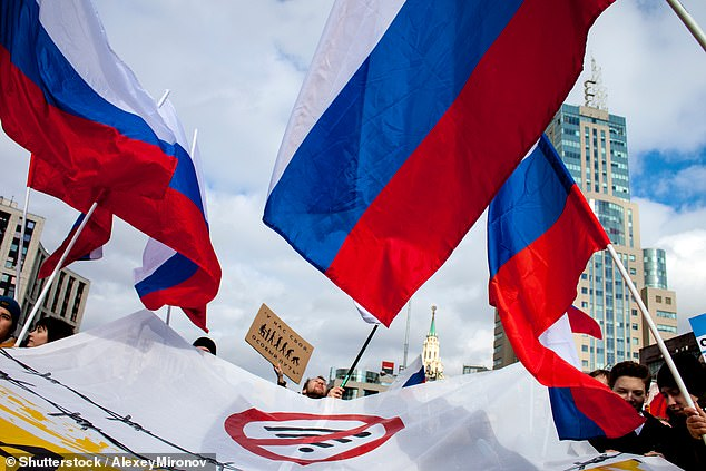 However, critics have claimed that the tests are part of a wider attempt to isolate its citizens from the surrounding world and its influences. Pictured, protestors campaign for internet freedom in Russia. (stock image)