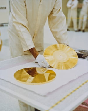 A gold record ready to be attached to a Voyager space probe in 1977