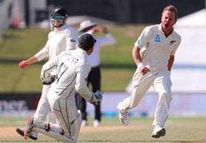 Neil Wagner celebrates with New Zealand teammate BJ Watling after dismissing England's Stuart Broad to win the Test in Mount Maunganui.