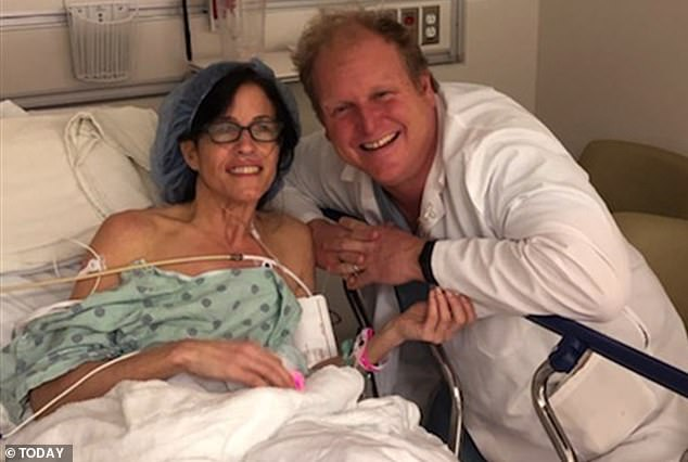 Jill Feldman, 49, of Chicago, Illinois, was diagnosed with lung cancer despite never have smoked before in her life. Pictured: Feldman, left, in the hospital for a surgery