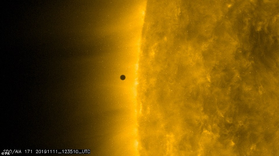 An image taken by NASA shows Mercury – the closest planet to the Sun – approaching the side of the giant star at the centre of our solar system