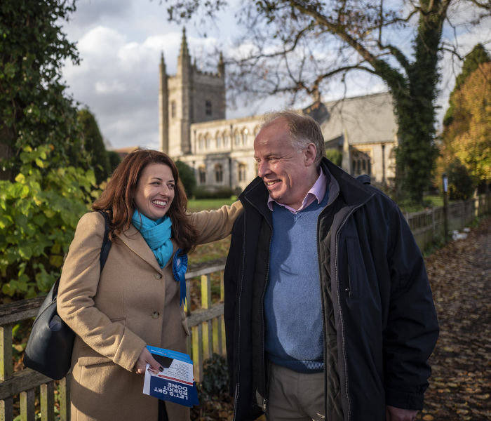 14/11/2019 Beaconsfield with Seb Payne. Picture shows: Conservative PPC Joy Morrissey on the campaign trail.
