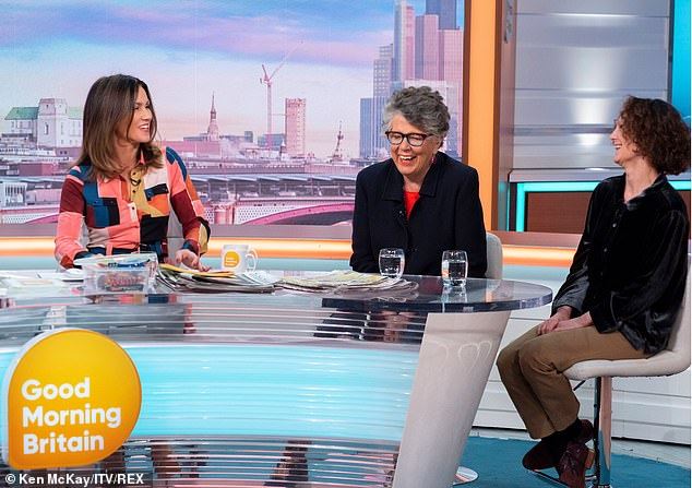 Host Susanna Reid (pictured left) then quizzed Prue on the irony of her message, to which Prue argued that although she hosts a baking show, 'nobody is recommending you do this every day'