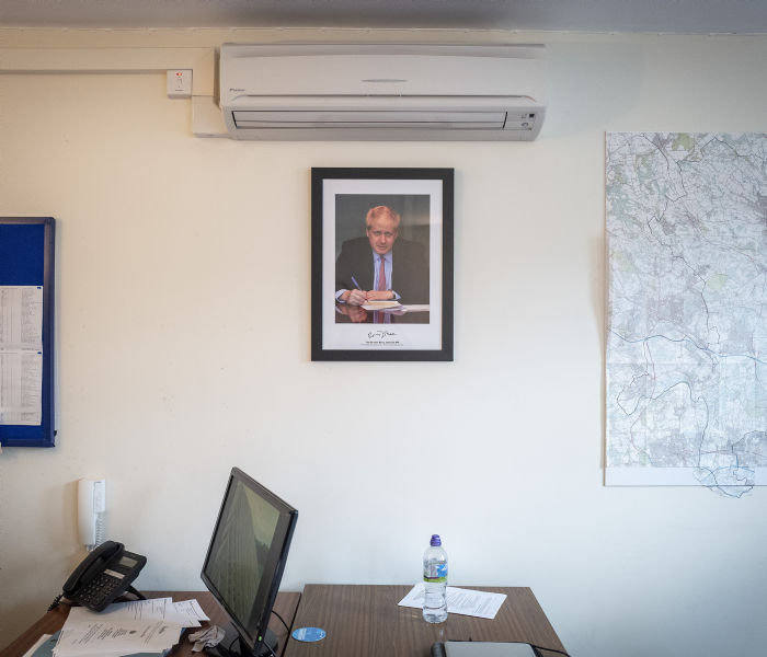 14/11/2019 Beaconsfield with Seb Payne. Picture shows: A picture of Prime Minister, Boris Johnson, in the Conservative association's office.