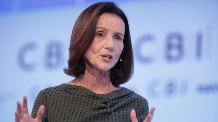 Carolyn Fairbairn, director-general of the Confederation of British Industry (CBI), gestures as she speaks at the CBI 2019 Annual Conference in London, U.K., on Monday, Nov. 18, 2019. Both U.K. Prime Minister Boris Johnson and Labour leader Jeremy Corbyn will address the Confederation of British Industry conference in London Monday Photographer: Jason Alden/Bloomberg