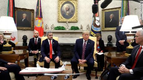 Trump meets with Paraguay's President Mario Abdo Benitez in the Oval Office, Friday, Dec. 13, in Washington.