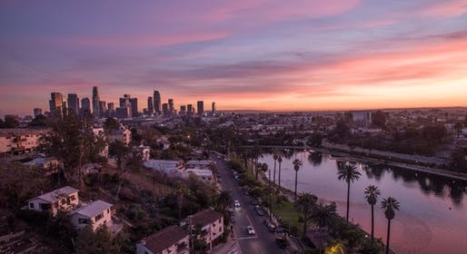 Echo Park Lake overlooking Downtown Los Angeles. (Wikipedia)