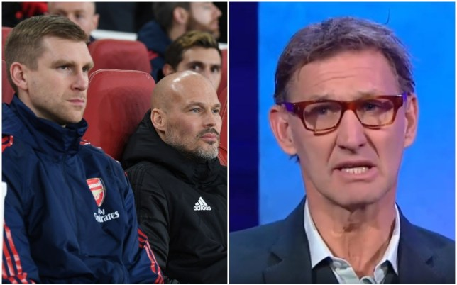 Tony Adams is unhappy with Per Mertesacker and Arsenal