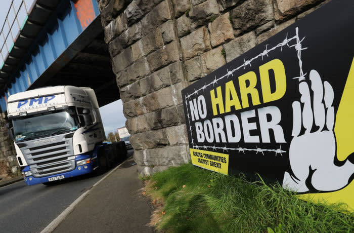 Anti Brexit signage in Newry near the border with the Republic of Ireland as EU leaders have approved the new Brexit deal, European Council President Donald TuskÕs spokesman has said. PA Photo. Picture date: Thursday October 17, 2019. See PA story POLITICS Brexit Border. Photo credit should read: Niall Carson/PA Wire