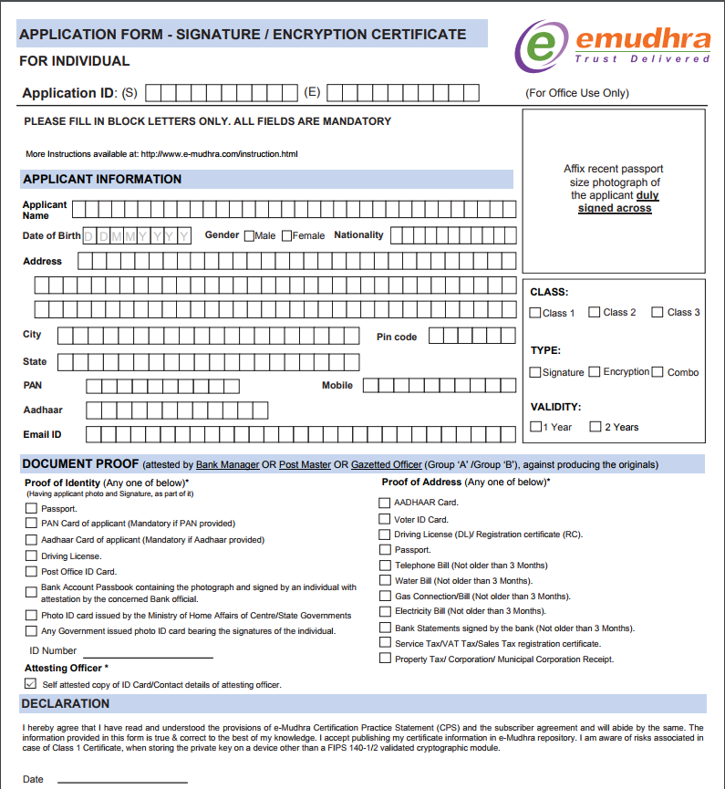 Application form for DSC from eMudra