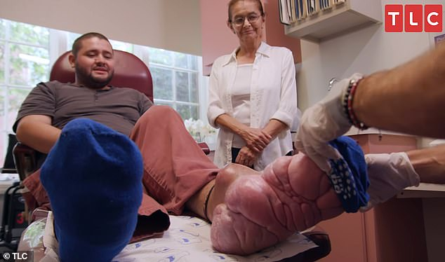 Jeffrey Ortega, 30, of Deerfield Beach, Florida, appeared on Thursday's episode of TLC's My Feet Are Killing Me with his mother, Alicia. Pictured: Ortega, left, with his mother