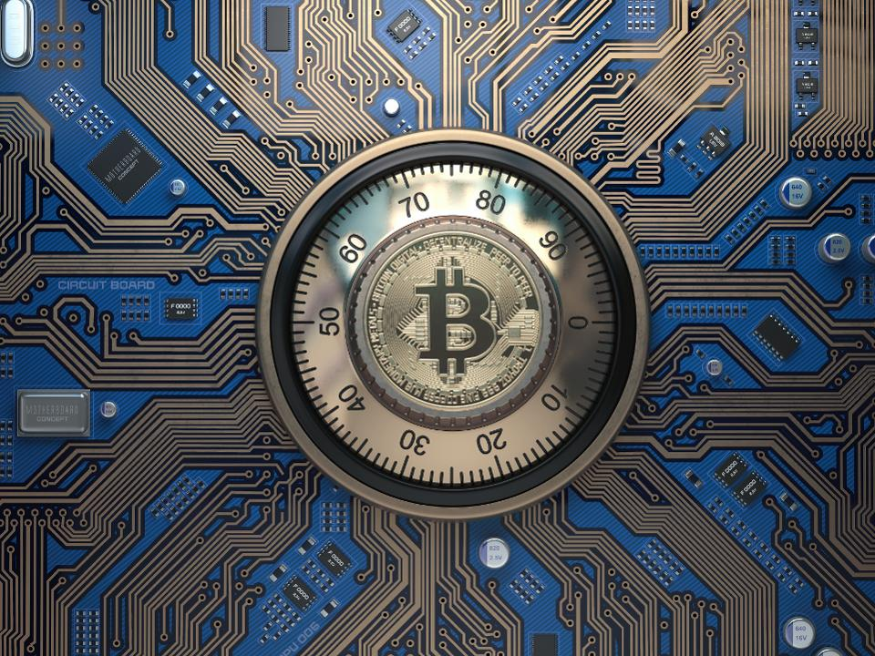 Bitcoin cryptocurrency security and mining concept