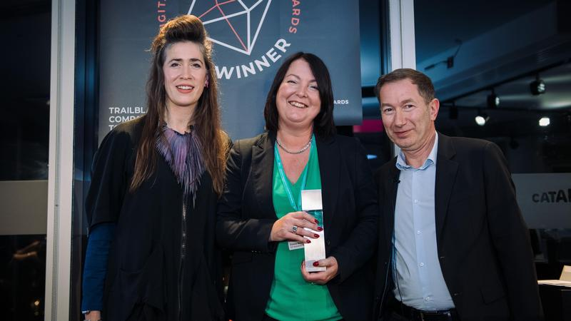IoT Solutions Group founder Emma Mahy receiving her Platinum Award