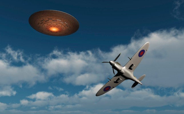 A Royal Air Force Supermarine Spitfire fighter aircraft giving chase to a UFO.