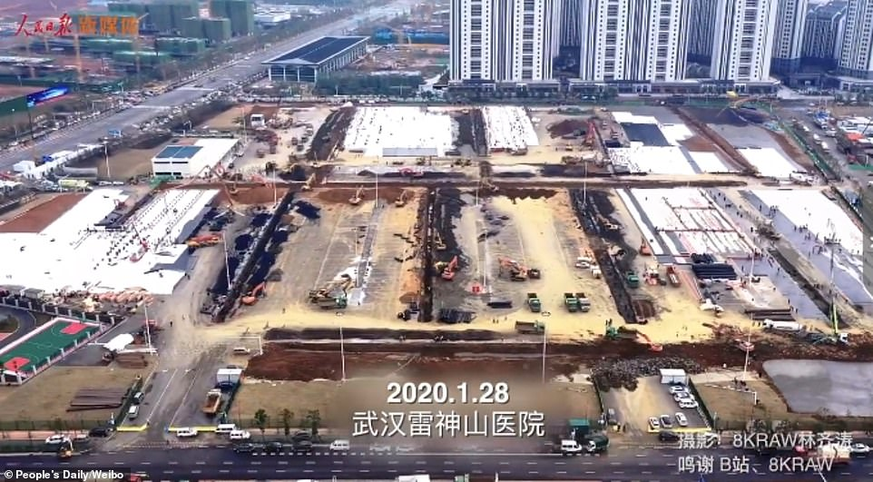 Trending footage released by Chinese state media People's Daily shows construction works in full swing on the site of Leishenshan Hospital, the second coronavirus hospitals in Wuhan