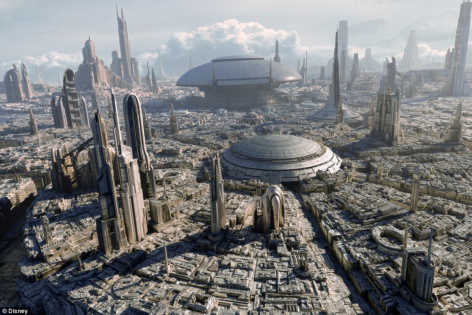 The Star Wars fiction world features a city occupying an entire planet, known as Coruscant. The gleaming towers of Coruscant in the film are supposed to represent the power and prosperity of Republic civilisation