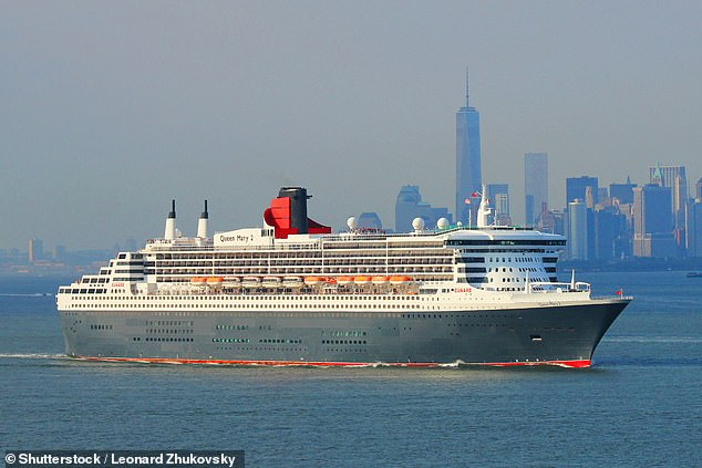 The man was on board the2,691-passenger Queen Mary 2 cruise liner while it was travelling through the Caribbean on its voyage from Southampton to New York (Pictured: The ship in New York in 2014)