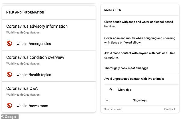 The SOS Alert feature is prioritising sources from the WHO, which declared the virus a global health emergency on Thursday