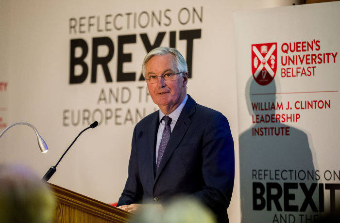 Michel Barnier, the EU's Brexit negotiator, speaking at Queen's University in Belfast. PA Photo. Picture date: Monday January 27, 2020. See PA story POLITICS Brexit. Photo credit should read: Liam McBurney/PA Wire