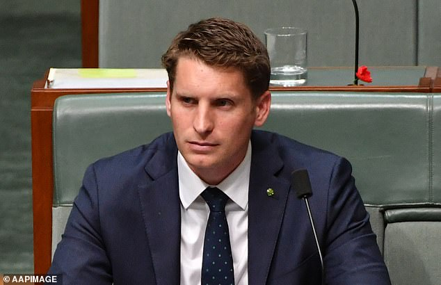 The Chair of Australia's Intelligence and Security Committee Andrew Hastie, pictured, said allowing Huawei to build a telecommunications network is a question of 'digital sovereignty'. He is pictured in Parliament House, Canberra, Australia