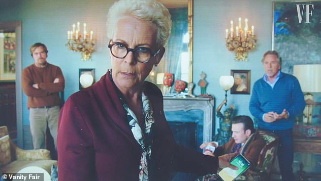Rian Johnson said that due to Apple product placement rules, only 'good' characters could be filmed using the company's devices in Knives Out. Pictured: Jamie Lee Curtis as Linda Drysdale who because she is holding an iPhone 'can't be the villian'