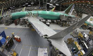 A Boeing 737 MAX 8 airplane sits on the assembly line in Renton, near Seattle.