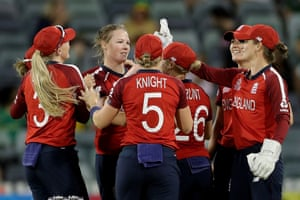 Anya Shrubsole is congratulated after taking the wicket.