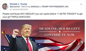 A Donald Trump campaign Facebook ad promises 'triple-matched' donations