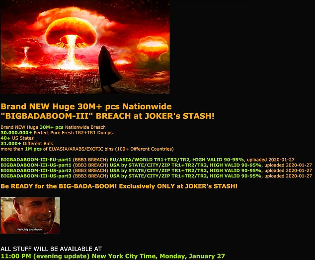 Pictured is a screen cap from a site called 'Joker's Stash' where the stolen data is being sold on the dark web