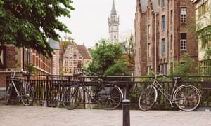 Bikes near canal in Ghent,